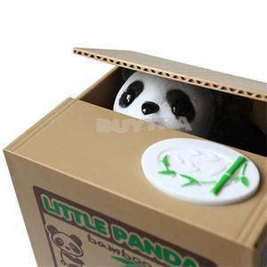 New SH Lovely Personality Stealing Coins Panda Cent Penny Saving Non Toxic PVC Money Box Pot