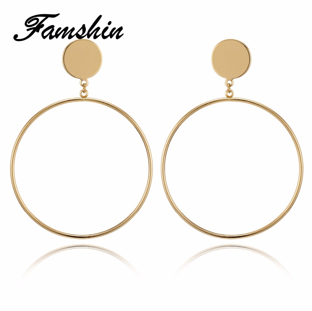 FAMSHIN New Arrive Silver/Gold Color Long Hollow Big Round Drop Earrings Hiphop Rock Simple For Women Accessories Jewelry