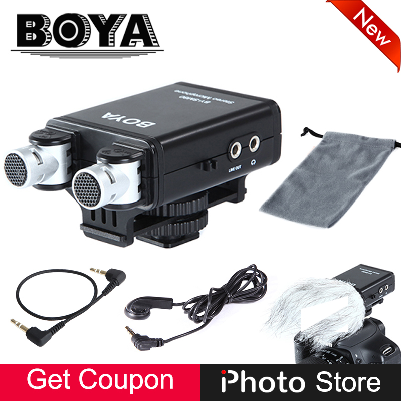 BOYA BY-SM80 Mini Stereo X/Y Condenser Light Compact Microphone for Canon Nikon Sony DSLR Video Camera Camcorder Audio Recorder boya by sm80 stereo video microphone with windshield for canon for nikon for sony dslr camera microphone camcorder