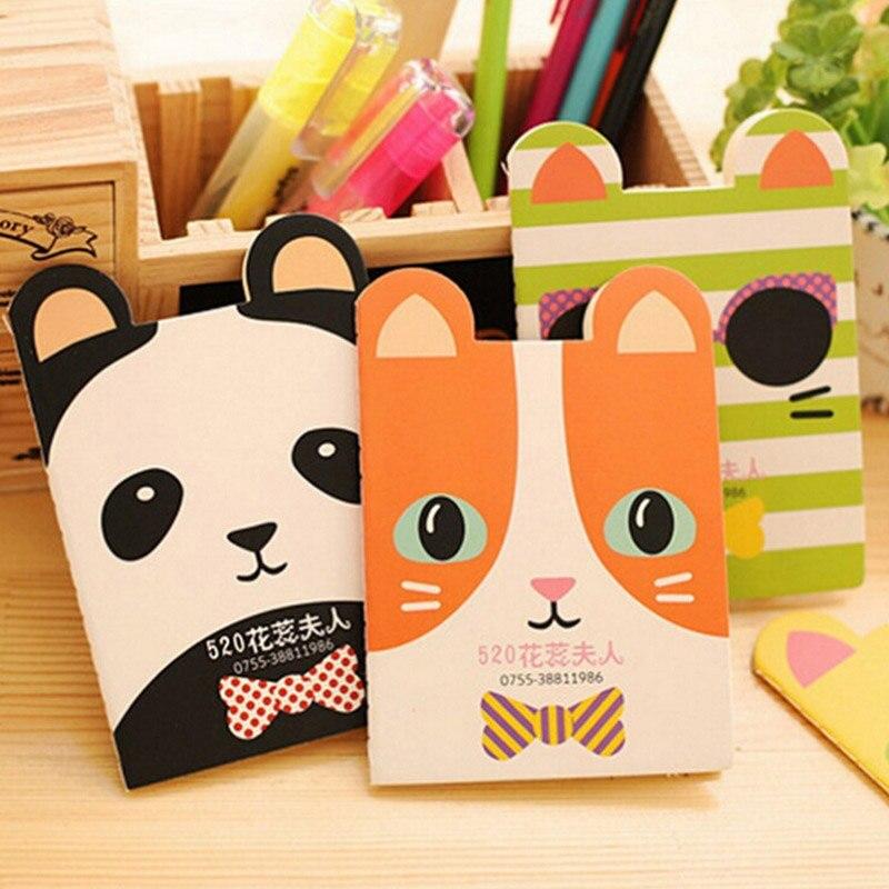 Cute Kawaii Cartoon Cat Panda Notebook Journal Mini Animal Dog Bowknot Exercise Book for Kids Stationery Student 332