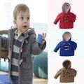 Novos Meninos 2017 Do Bebê casacos Crianças Casaco Crianças Jaquetas para Jaqueta de Inverno Quente Com Capuz Crianças Roupas Das Meninas do menino cinza Cáqui vermelho