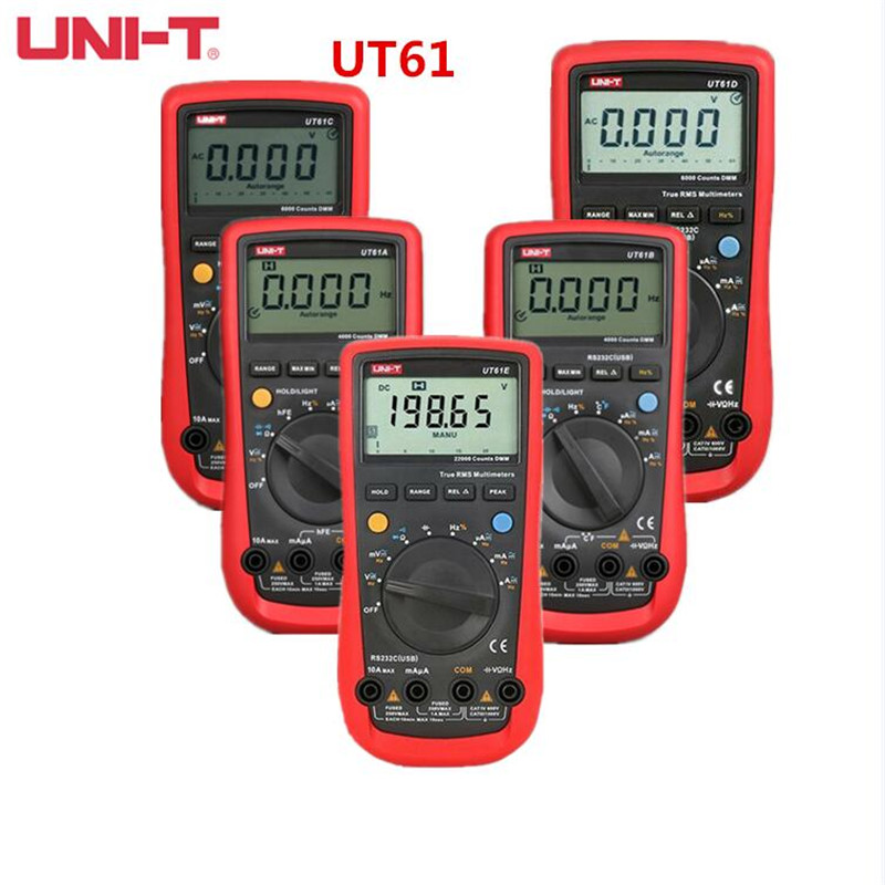 UNI T UT61A UT61B UT61C UT61D UT61E True RMS digital multimeter analog bar large capacitance measurement
