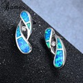 Bamos Fashion Water Drop Blue Fire Opal Earring White Gold Filled Wedding Party Engagement Earring Valentine's Day Ear0634