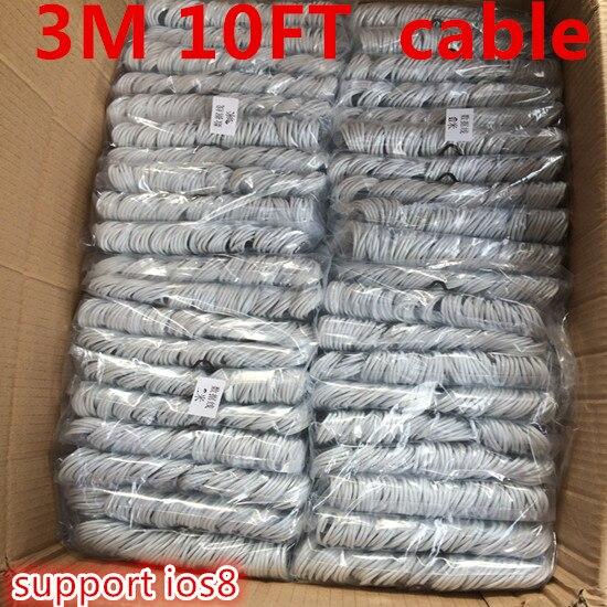 imágenes para 1000 unids/lote 3 M apoyo IOS10 10ft 8 Pin USB 2.0 de Carga Sync paquetes de accesorios de Cable de datos para iPhone 7 plus 7 6 6 S 6 MÁS 5S