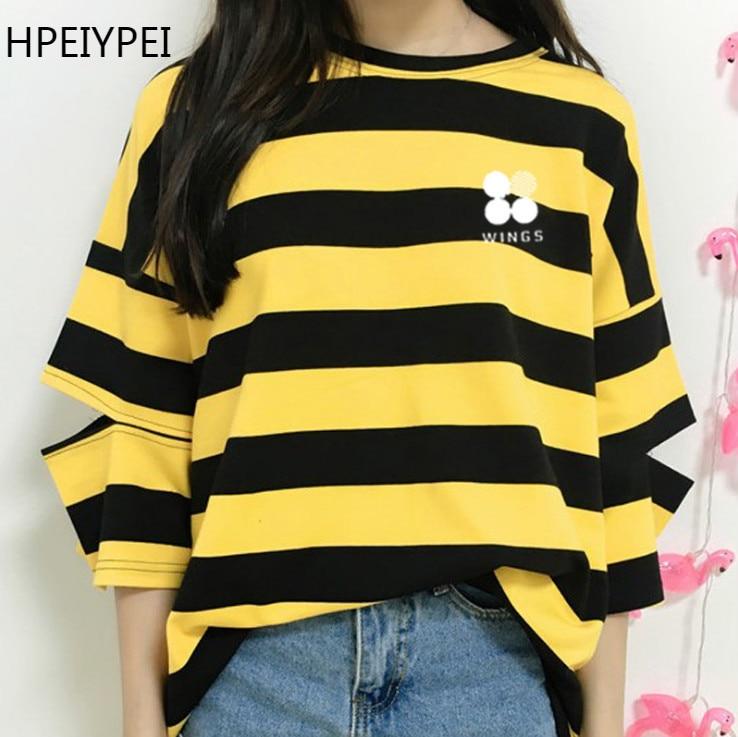 New BTS Bangtan Boys The Same elbow half sleeve red yellow stripy girl Summer Tshirt bts merchandise