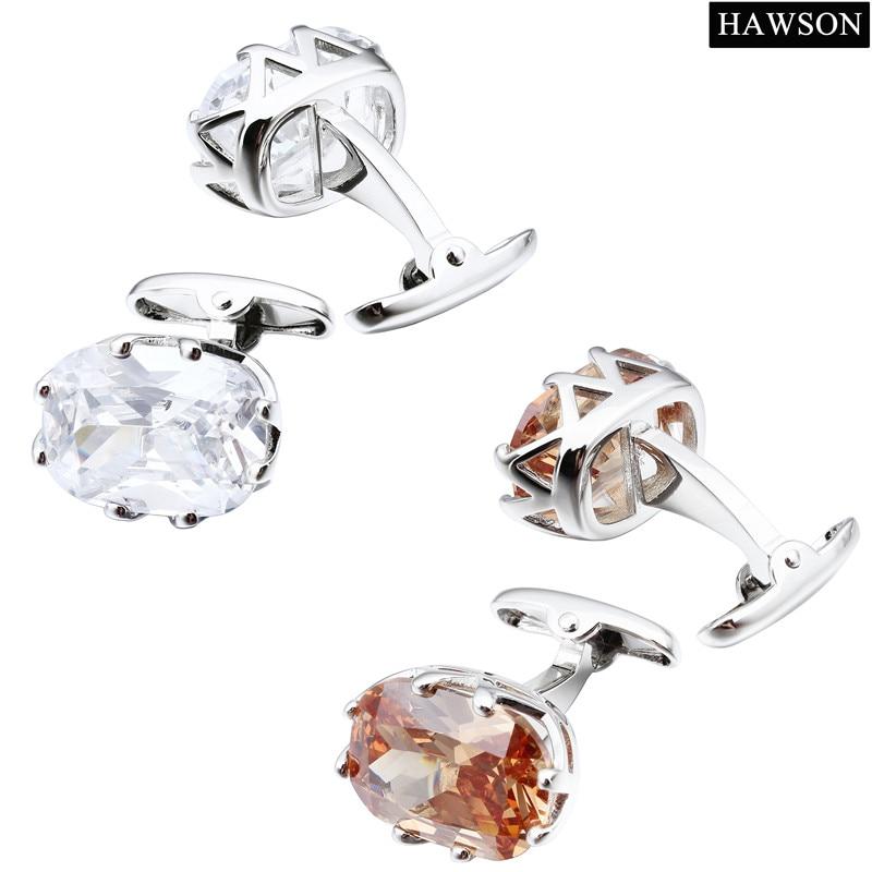 HAWSON Zircon Cuff links Luxury French Cufflinks for Mens Shirt - Fashion Jewelry - Photo 3