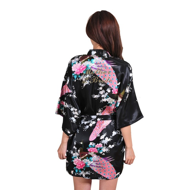 Image 5 - VLENATLNO Wedding Bride Bridesmaid Floral Robe Satin Rayon Bathrobe Nightgown For Women Kimono Sleepwear Flower Plus Size-in Robes from Underwear & Sleepwears on AliExpress