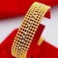 """16 мм широкий тонкий браслет желтого золота заполнены cz имитационные алмазный женщины fashion запада золотой браслет долго 7.28"""""""