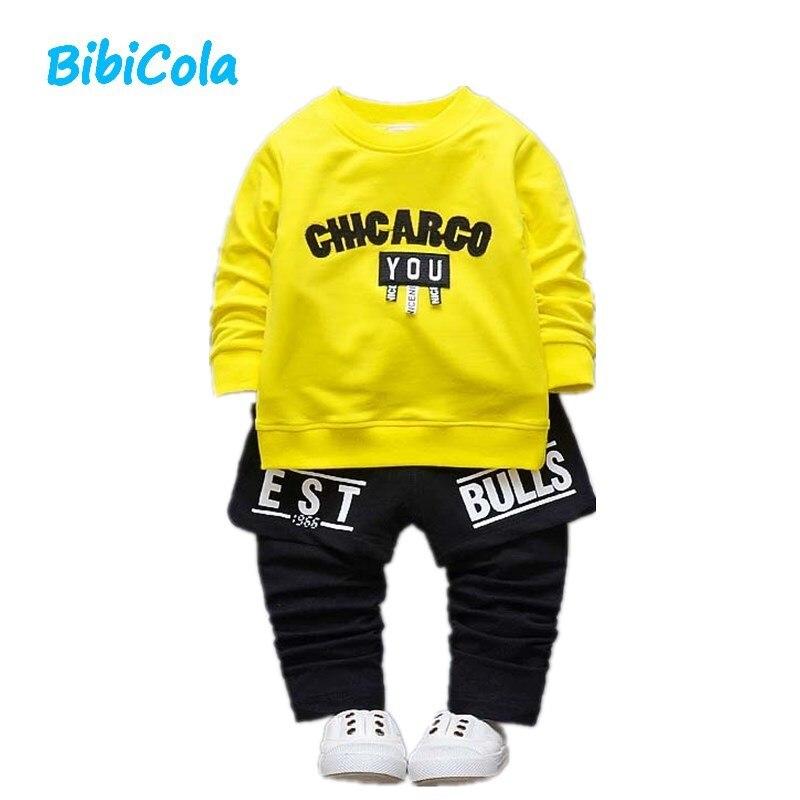 BibiCola Newborn Clothing Sets Spring Autumn Baby Boys Clothes Long Sleeve T-shirt+Pants 2Pcs Suits Children Tracksuit Set