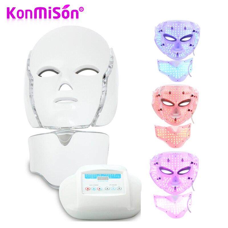 KONMISON 3 Color LED Light Photon Therapy Facial Neck Mask Microcurrent Skin Rejuvenation Electric Anti Aging