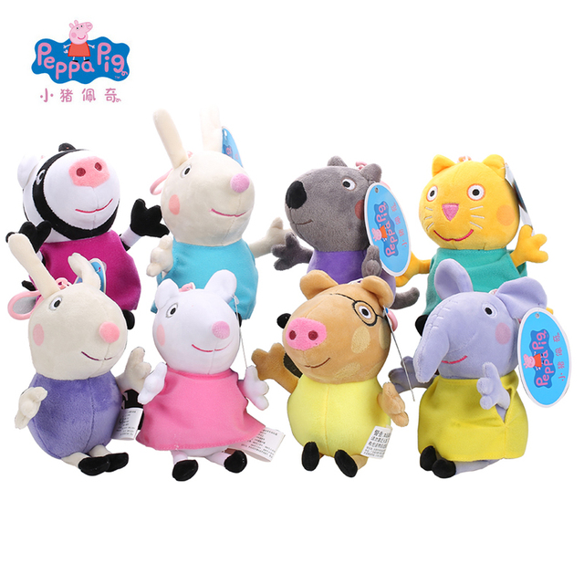 8pcs Original Peppa Pig Plush Toys Peppa George Family Stuffed Doll Peppa Friends Candy Danny Pedro Emily Birthday Gift For Kids