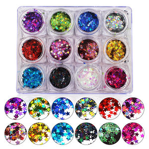 Holographic Laser STAR Glitter Sequins for nail art decoration and DIY Supplies -Star Holographic Confetti Glitter (12 pieces)