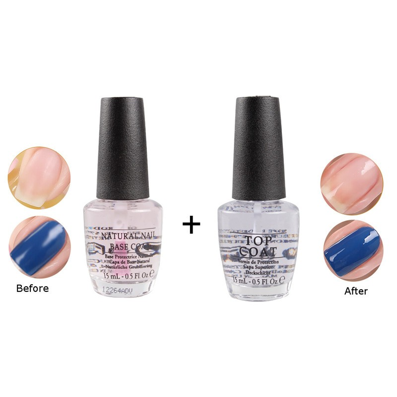 2Pcs/Set Nail Art Gel Polish High Gloss Natural Base Coat & Clear ...