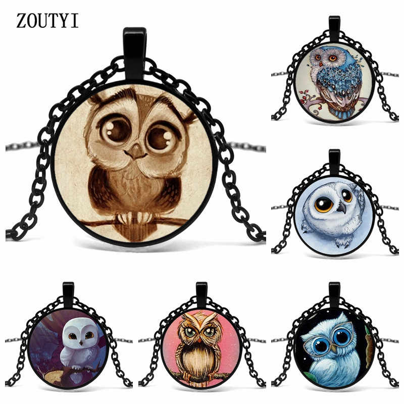 2019 new, cute owl art pattern concave glass pendant necklace, men and women gift necklace, wholesale