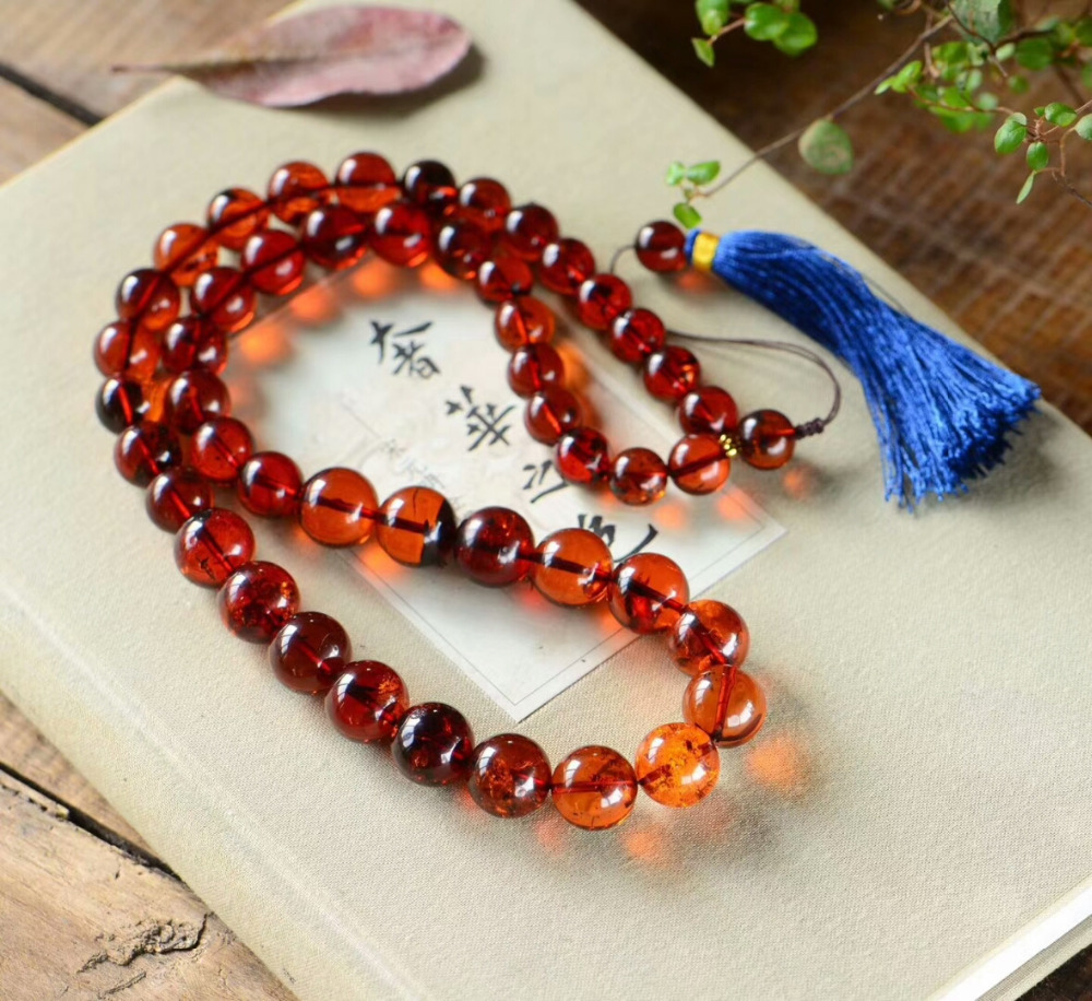 Genuine Natural Blood Red Amber Gemstone Crystal Round Beads Big Size Necklace 12-15mm Certificate