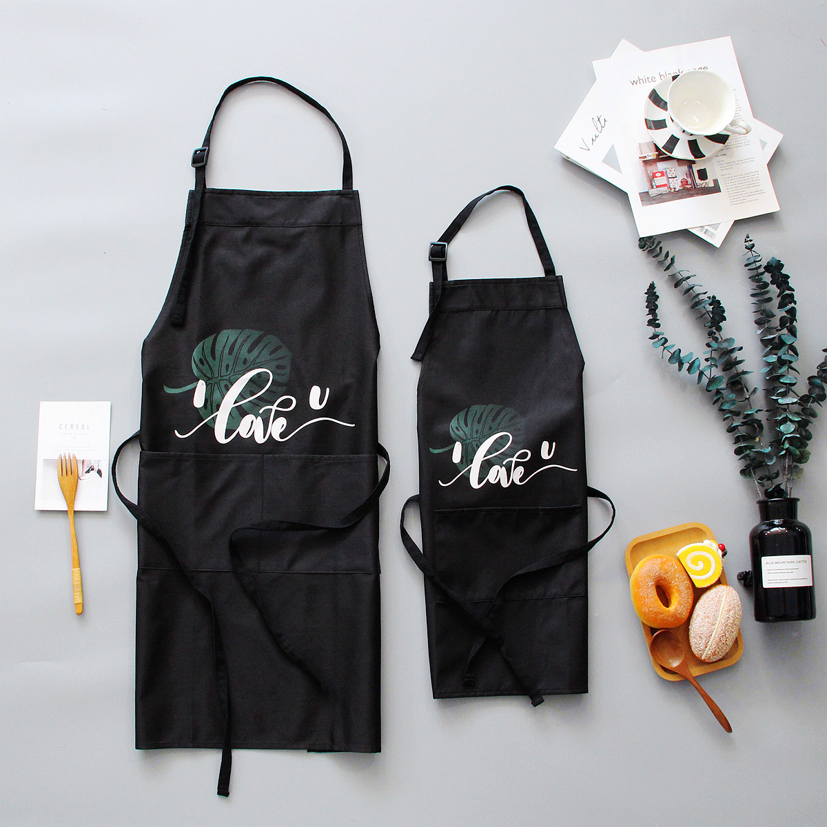 Image 2 - 1 Ps Chic Plants Pattern Unisex Cooking Dining Kitchen BBQ Restaurant Cleaning Waterproof Waitress Housework Aprons Dropshipping-in Aprons from Home & Garden