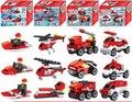 4 unids/lote Ciudad Vehículo de Bomberos Del Helicóptero de La Policía Militar Building Blocks Establece 3 En 1 juguetes Modelo de Montaje Compatible Legoe Creador