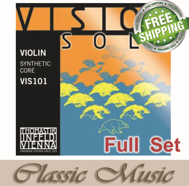Free shipping,Thomastik Vision Solo Violin Strings(VIS101) - Set Sliver D ,Full set (G,D,A,E) ,4/4 Medium. Made in Austria. original thomastik vision solo vis100 4 4 violin strings full set med alum d made in austria free shipping