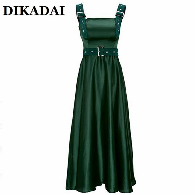 a4da8653e00c Elegant Spaghetti Strap Party Dress Women Solid Dark Green Black High Waist  Office Sundress Casual Pleated Ankle Length Robes