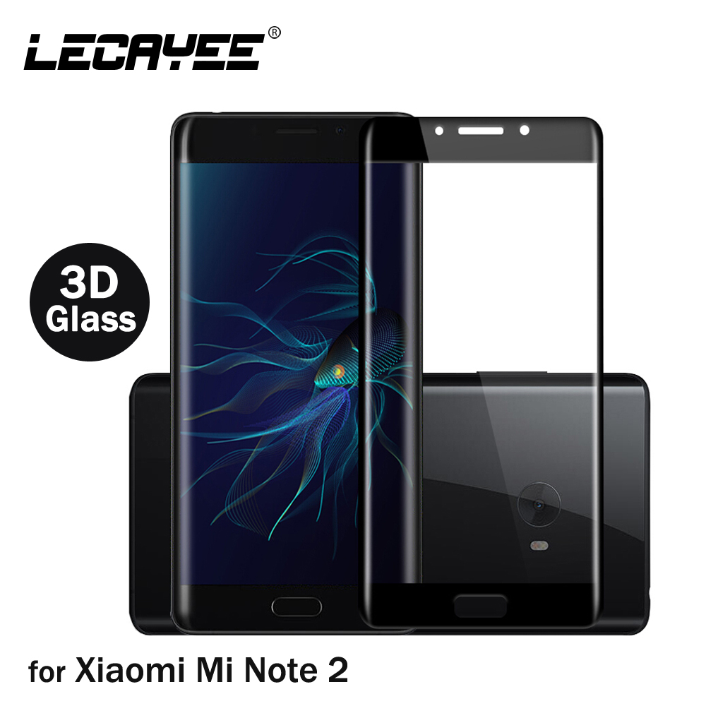 LECAYEE Colored Glass For Xiaomi Mi Note 2 3D Curved Full Covered Tempered Glass For Xiaomi Mi Note 2 Screen Protective Film