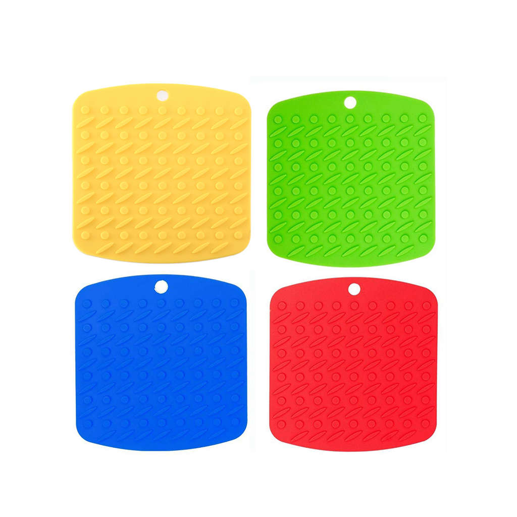 Silicone Pot Holders,Trivet Mat,Non-slip Hot Pads,and Garlic Peeler,Set of 4