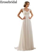 Erosebridal ホワイトアイボリーウェディングドレス新デザイン 2019 古典的なビーチ花嫁衣装エレガントなレースアップバック在庫