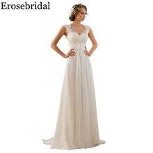 Vestido de novia Erosebridal blanco marfil nuevo diseño 2019 traje nupcial de playa clásico elegante con cordones en la espalda en Stock