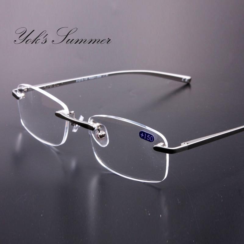 Yok летние Rectangl очки для чтения Для мужчин без оправы Алюминий очки Рамка для Для же ...
