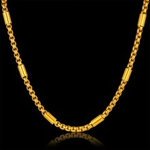Golden Chain Male Necklace Men Jewelry Neck Chain For Men, Hip Hop Gold Color Stainless Steel Chains Long Necklace Collier
