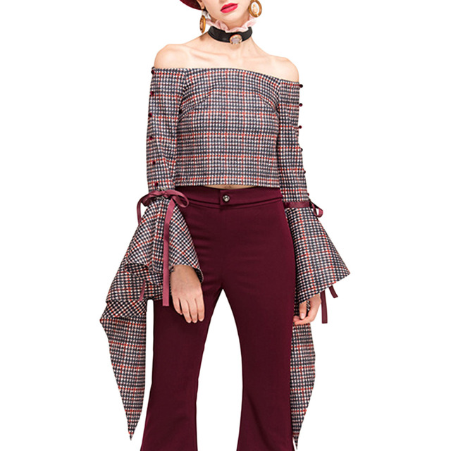 Pettigirl Ruffles Blouse Womens Slash Neck Flared Sleeve Vintage Plaid Sexy Off-The-Shoulder Party Tops