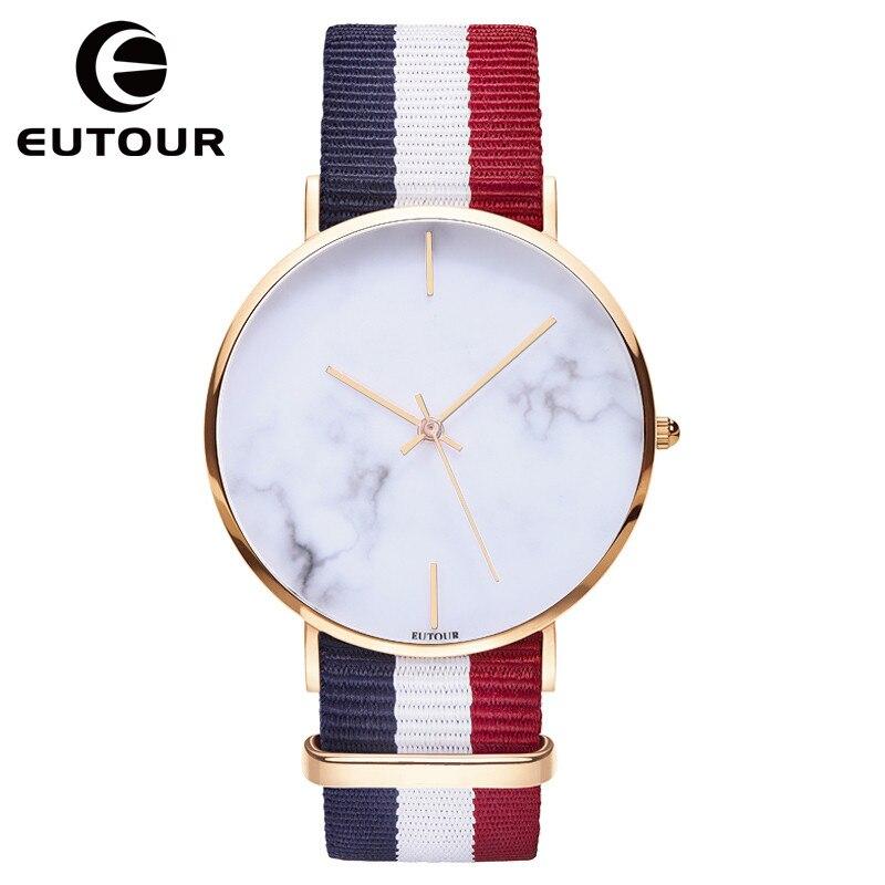 2017 EUTOUR nouveau top or rose simple toile Sangle Ultra mince Montre En Marbre femmes fshion Casual Quartz robe Montres Horloge