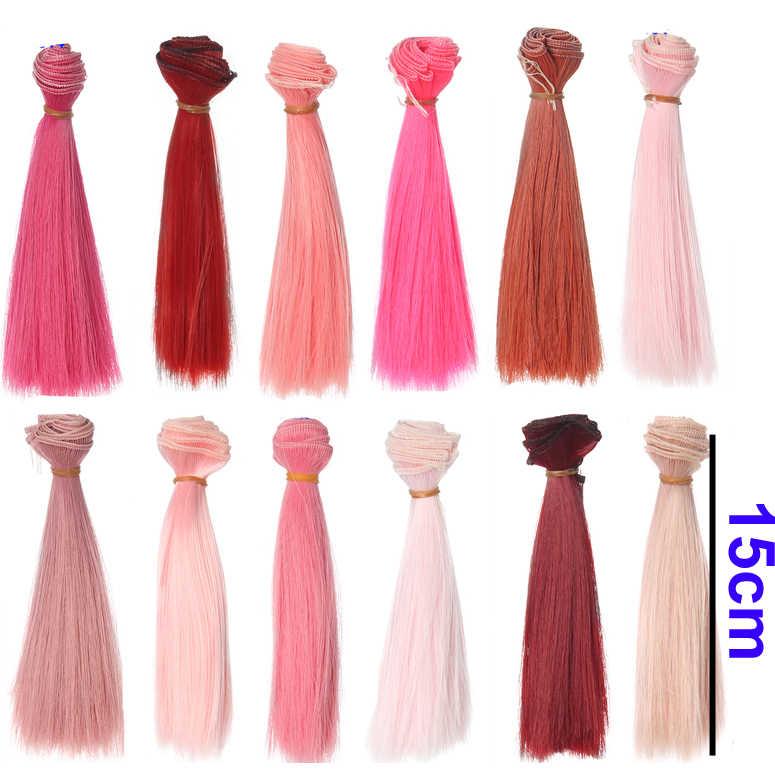 مصنع 15 سنتيمتر الوردي ردة حمراء اللون مستقيم الشعر ل 1/3 1/4 bjd دمية الروسية hanamade دمية الباروكات