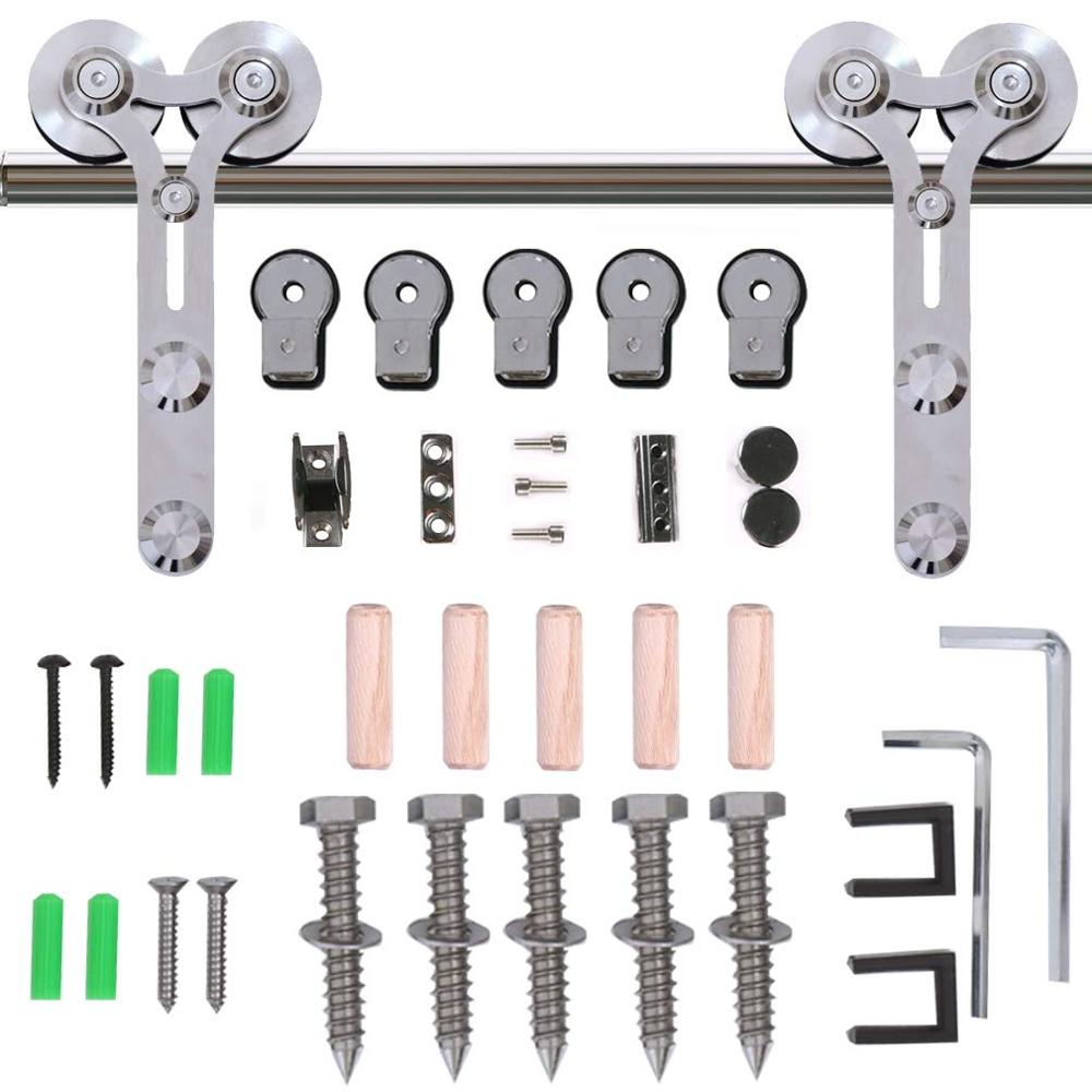 LWZH Stainless Steel Sliding Barn Door Hardware Basic Track Hardware Kit Y-Shaped  with Big Roller Track Roller for Interio