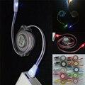 1 m iluminación luminosa teléfono usb retráctil cargador cable para iphone 5 5s 6 6 s plus 7