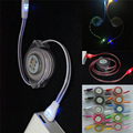 1M Luminous Lighting Retractable USB Phone Charger Cable for Iphone 5 5s 6 6s Plus 7