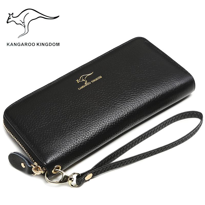 KANGAROO KINGDOM luxury genuine leather women wallets long zipper clutch purse brand lady wallet одежда из кожи china kangaroo long 10010