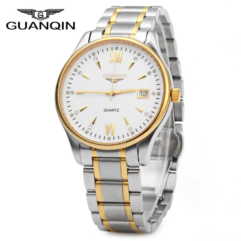 GUANQIN Men Calendar Rhinestone Luminous Quartz Watch with 30M Water Resistant yazole 268 men leather analog quartz watch with roman scale 30m water resistant