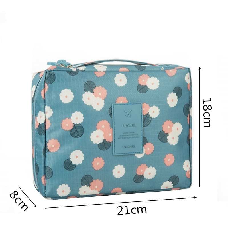 Image 2 - Fashion Travel Nylon Beauty Makeup Bags Water proof Cosmetics Bags Bathroom Organizer Of Women Portable Bath Hook Washing Up Bag-in Storage Bags from Home & Garden