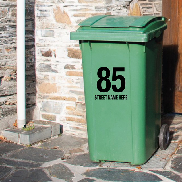 02ef399a8 Trash Can Custom House Number And Street Name Art Decals , Personalized  Customization Garbage Bin Art Decals Garbage Can Decor
