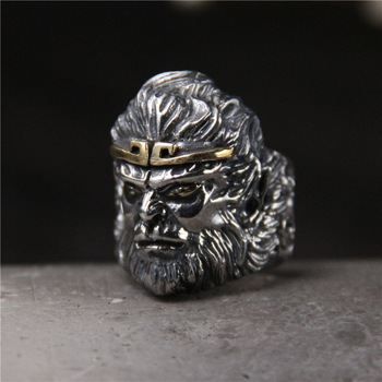 Retro Thai Silver Monkey King King Kong S925 Sterling Silver Men's Personality Open Ended Ring Fighting