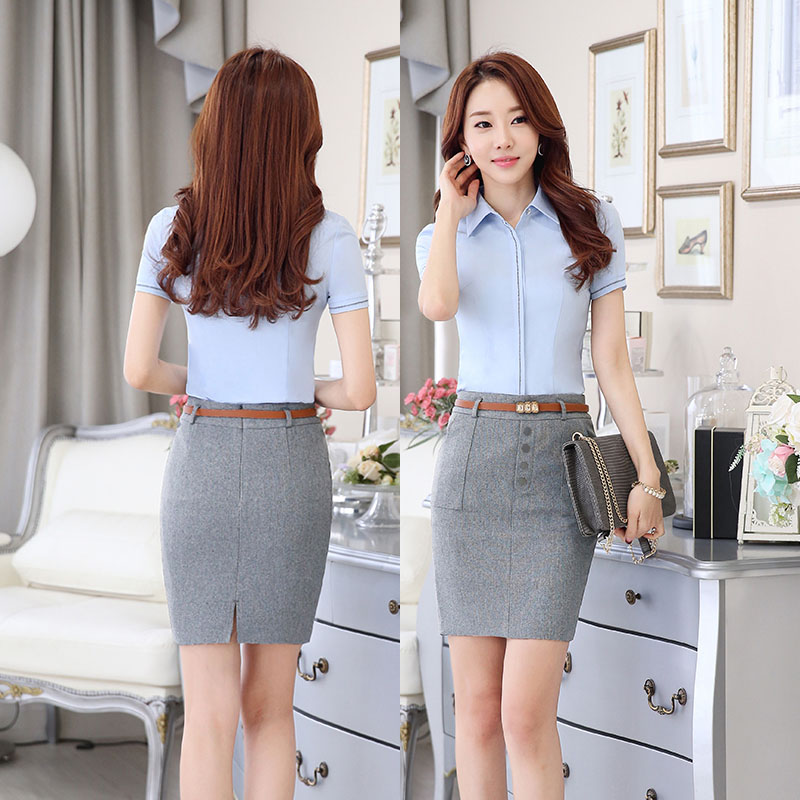 ce99c3668ca3 Slim Fashion Elegant Grey Professional Business Women Skirts Ladies Office  Work Wear Slim Hips Business Women Shorts With Belt-in Skirts from Women's  ...