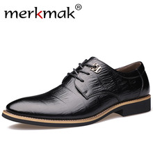 Merkmak 2017 Luxusmarke Männer Wohnungen Mode Hohe Qualität Echtes leder Schuhe Herren Lace Up Business Kleid Schuhe Oxfords Für männer