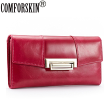 COMFORSKIN Brand New Arrivals Premium Genuine Oil Waxing Leather Long Vintage Women Wallets Large Capacity Ladies Clutch Purses