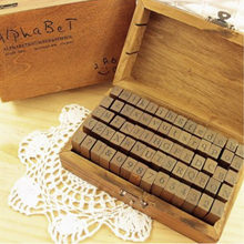 70PCS Vintage Wooden Rubber Set Alphabet Letter Number Punctuation Stamps Stamper for DIY Card Diary Crafting Decor(China)
