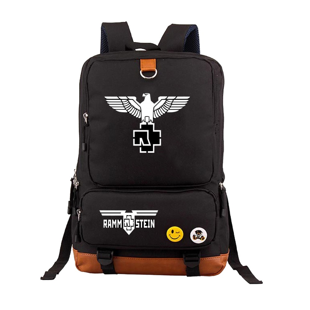 Fashion German famous band Rammstein students letters pattern backpack boys girls school bag laptop rucksack MochilasFashion German famous band Rammstein students letters pattern backpack boys girls school bag laptop rucksack Mochilas
