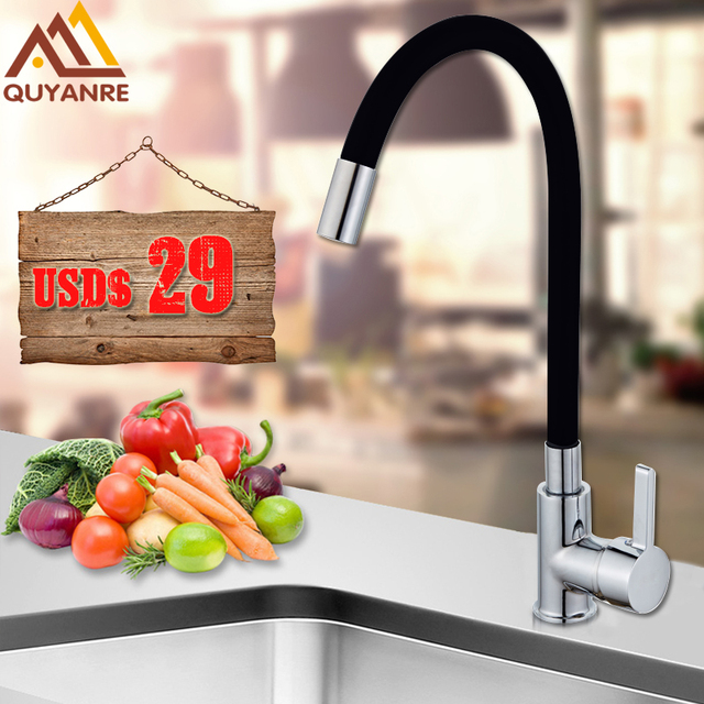 Quyanre Chrome Brass Black  Kitchen Sink Faucet Flexible Rubber Hot Cold Water Mixer Tap Rotation Kitchen Tap Torneira Cozinha