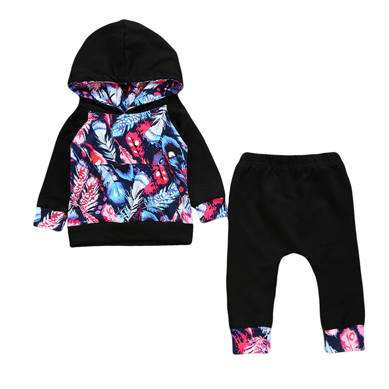 Toddler Newborn Baby Girls Clothes Pink Long Sleeve Hooded Tops+Pants Leggings 2PCS Outfits Set