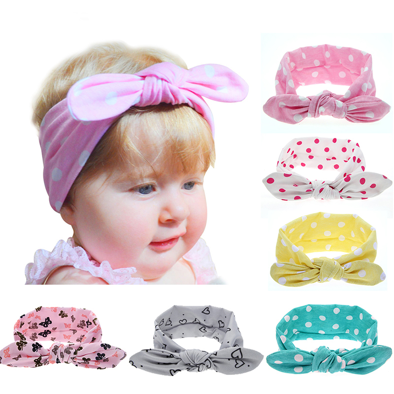 Kids Girls Print Dot Star Rabbit Ears Elastic Headband Cotton Turban Bow Knot scrunchy HairBand Hair Accessories EASOV T11 7 colors rabbit ears beanie baby girls boys toddler cotton soft turban knot cap beanie hat rabbit ears knot child caps
