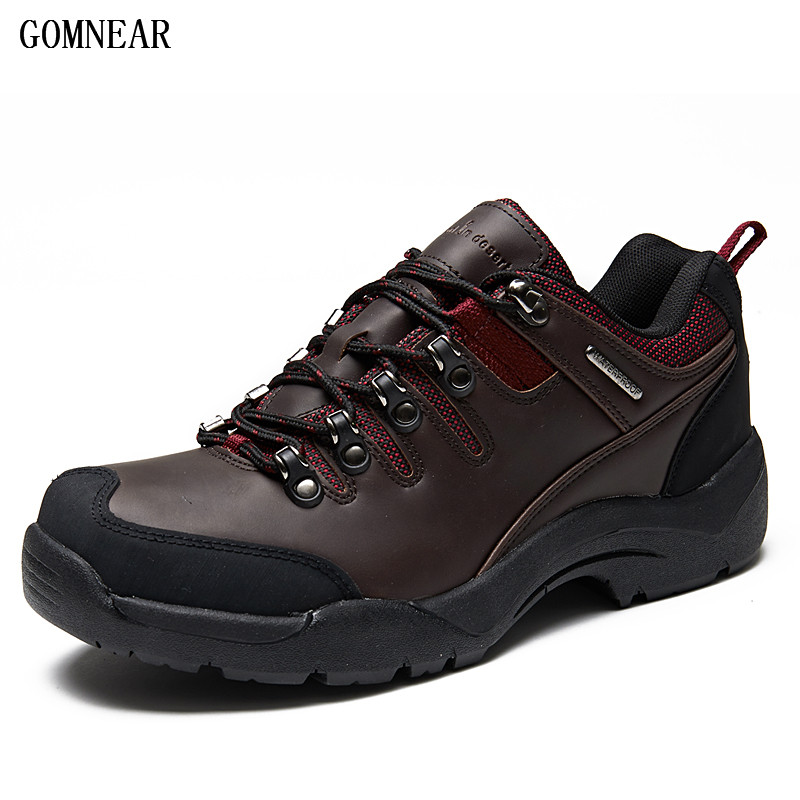 GOMNEAR Waterproof Fishiong Hiking Shoes Men Outdoor Hunting Trekking Athletic Shoes Antiskid Climbing Tourism Popular Chaussure s what stylish universal 3 5mm jack wired in ear stereo headset w microphone white coffee