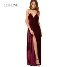 COLROVIE V ネックロングエレガントなドレス新ストラップラップドレス ブルゴーニュベルベットマキシ背中レディース秋のパーティードレスディープ